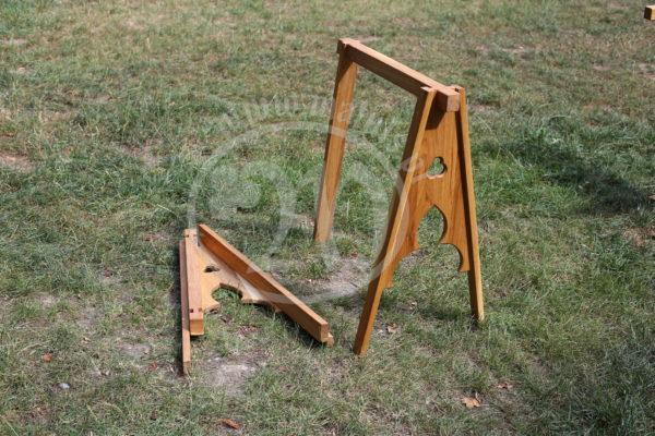 oak tripod under table