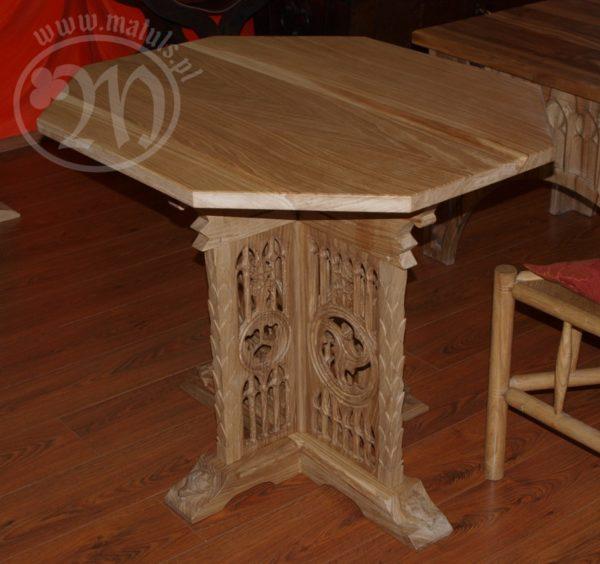 stół ośmiokątny drewniany