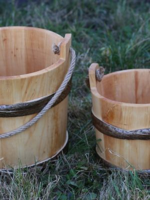 Wooden bucket with rope handle
