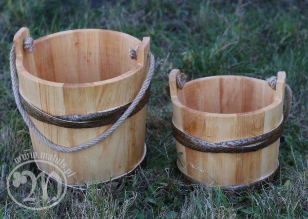 drewniane wiadro średniowieczne olcha
